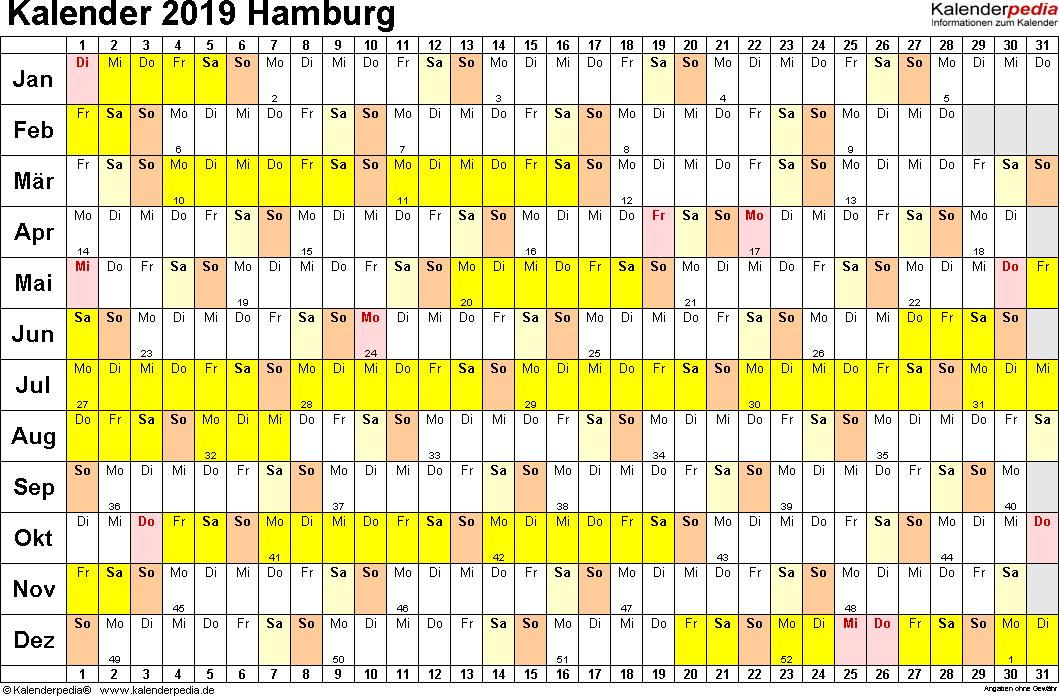 Vorlage 2: Kalender Hamburg 2019 im Querformat, Tage nebeneinander