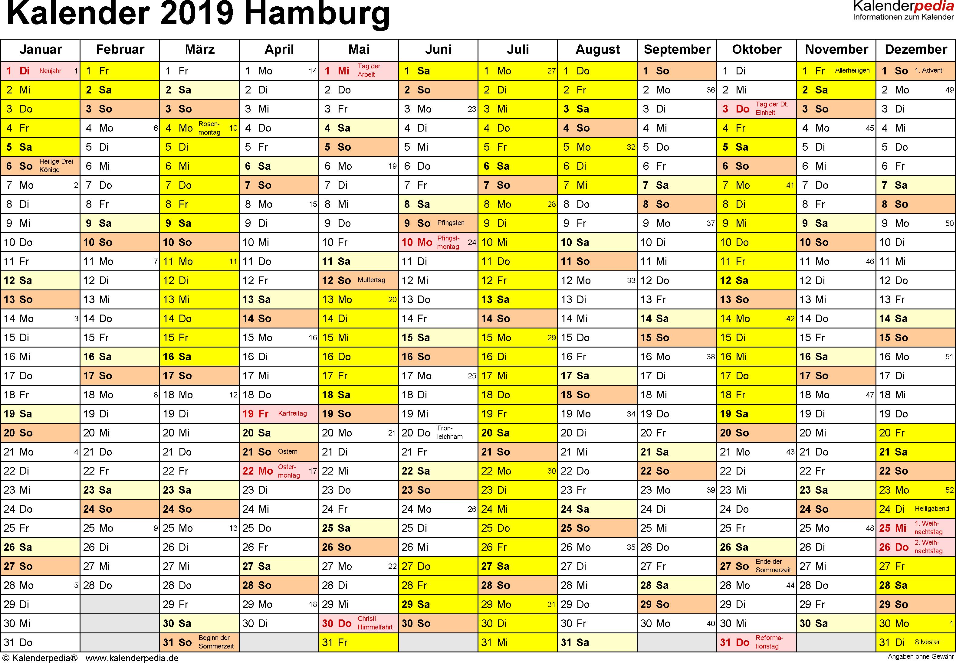 Vorlage 1: Kalender 2019 für Hamburg als PDF-Vorlage (Querformat, 1 Seite)