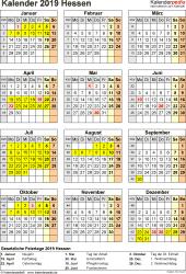 Vorlage 8: Kalender Hessen 2019 als PDF-Vorlage (Hochformat)