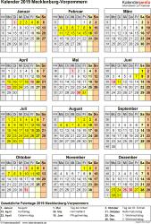 Vorlage 8: Kalender Mecklenburg-Vorpommern 2019 als Excel-Vorlage (Hochformat)