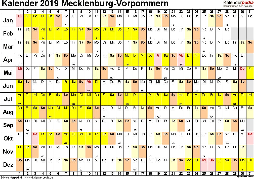 Vorlage 2: Kalender Mecklenburg-Vorpommern 2019 im Querformat, Tage nebeneinander