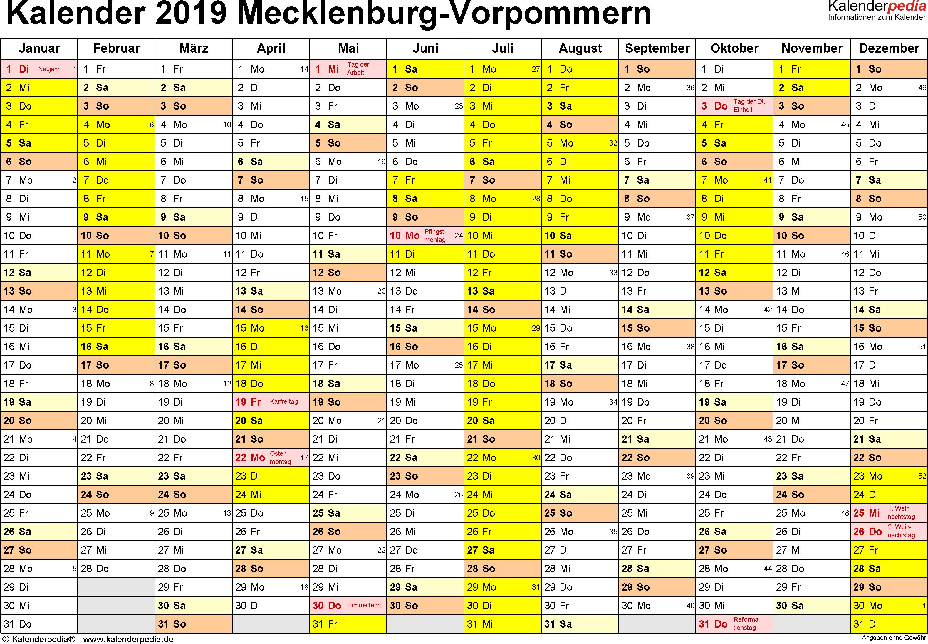 Vorlage 1: Kalender 2019 für Mecklenburg-Vorpommern als Excel-Vorlagen (Querformat, 1 Seite)