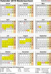 Vorlage 4: Kalender Niedersachsen 2019 als Excel-Vorlage (Hochformat)