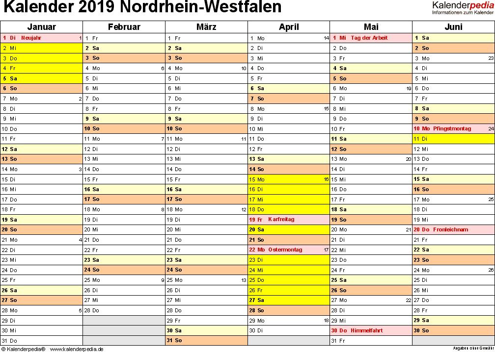 Vorlage 3: Kalender 2019 für NRW als Excel-Vorlagen (Querformat, 2 Seiten)