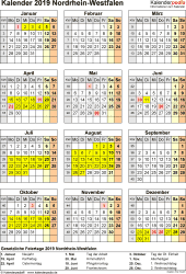 Vorlage 8: Kalender Nordrhein-Westfalen (NRW) 2019 als Word-Vorlage (Hochformat)