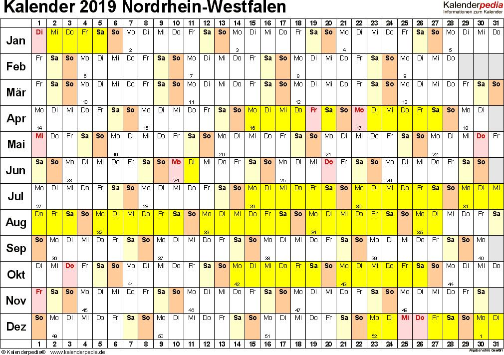 Vorlage 3: Kalender Nordrhein-Westfalen (NRW) 2019 im Querformat, Tage nebeneinander