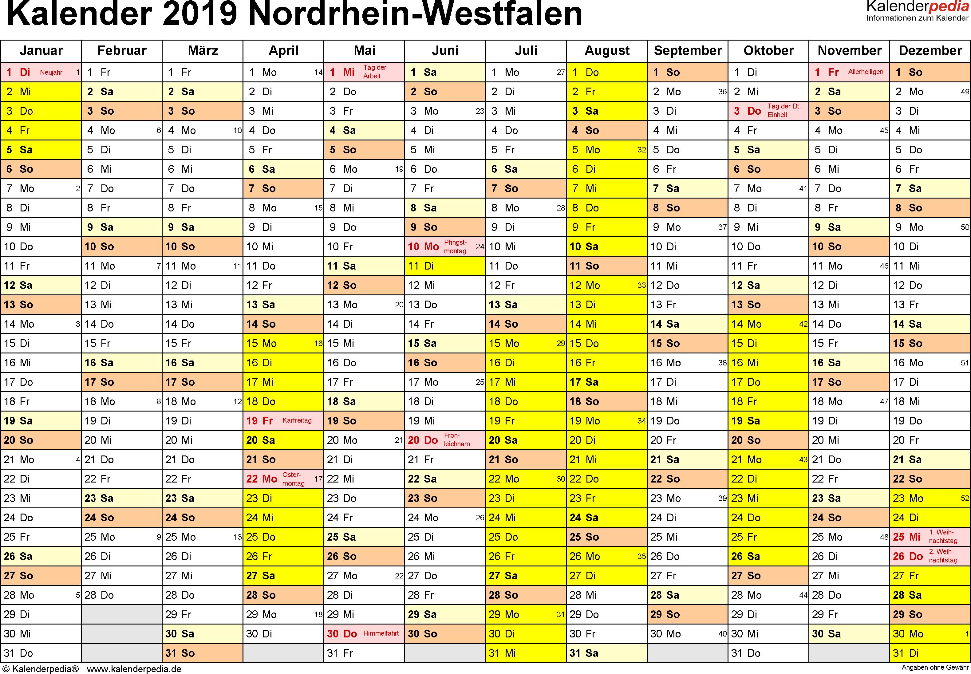 Vorlage 1: Kalender 2019 für NRW als Excel-Vorlagen (Querformat, 1 Seite)