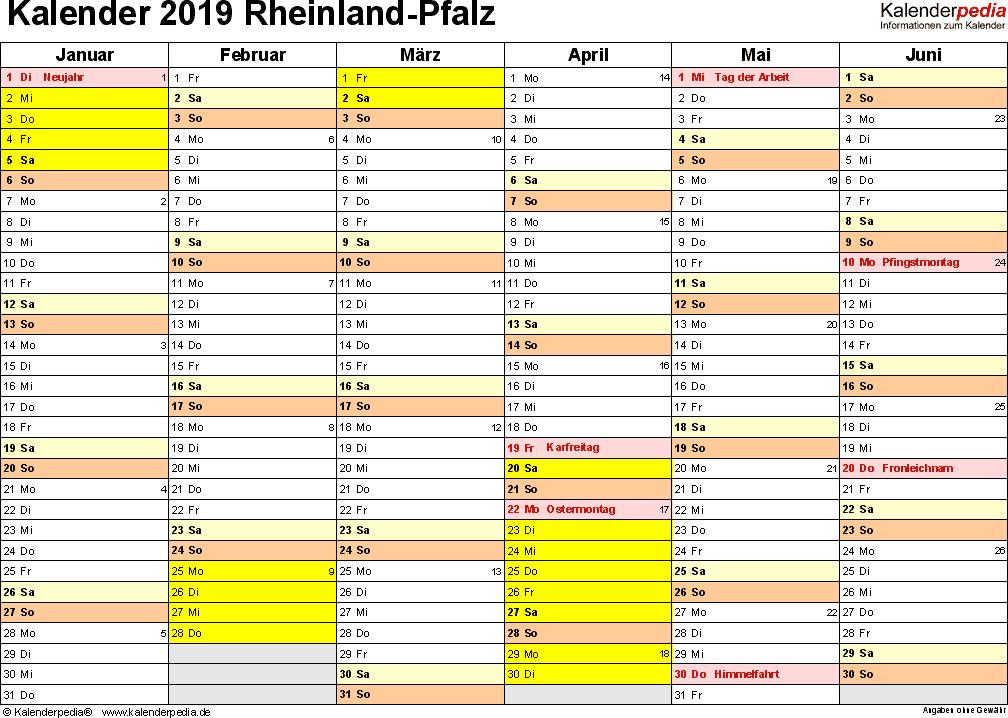 Vorlage 2: Kalender 2019 für Rheinland-Pfalz als PDF-Vorlage (Querformat, 2 Seiten)