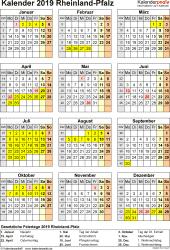 Vorlage 8: Kalender Rheinland-Pfalz 2019 als PDF-Vorlage (Hochformat)