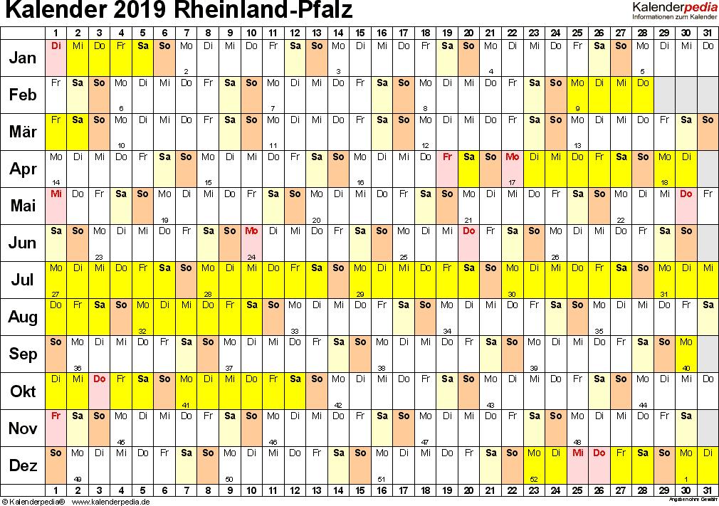 Vorlage 3: Kalender Rheinland-Pfalz 2019 im Querformat, Tage nebeneinander