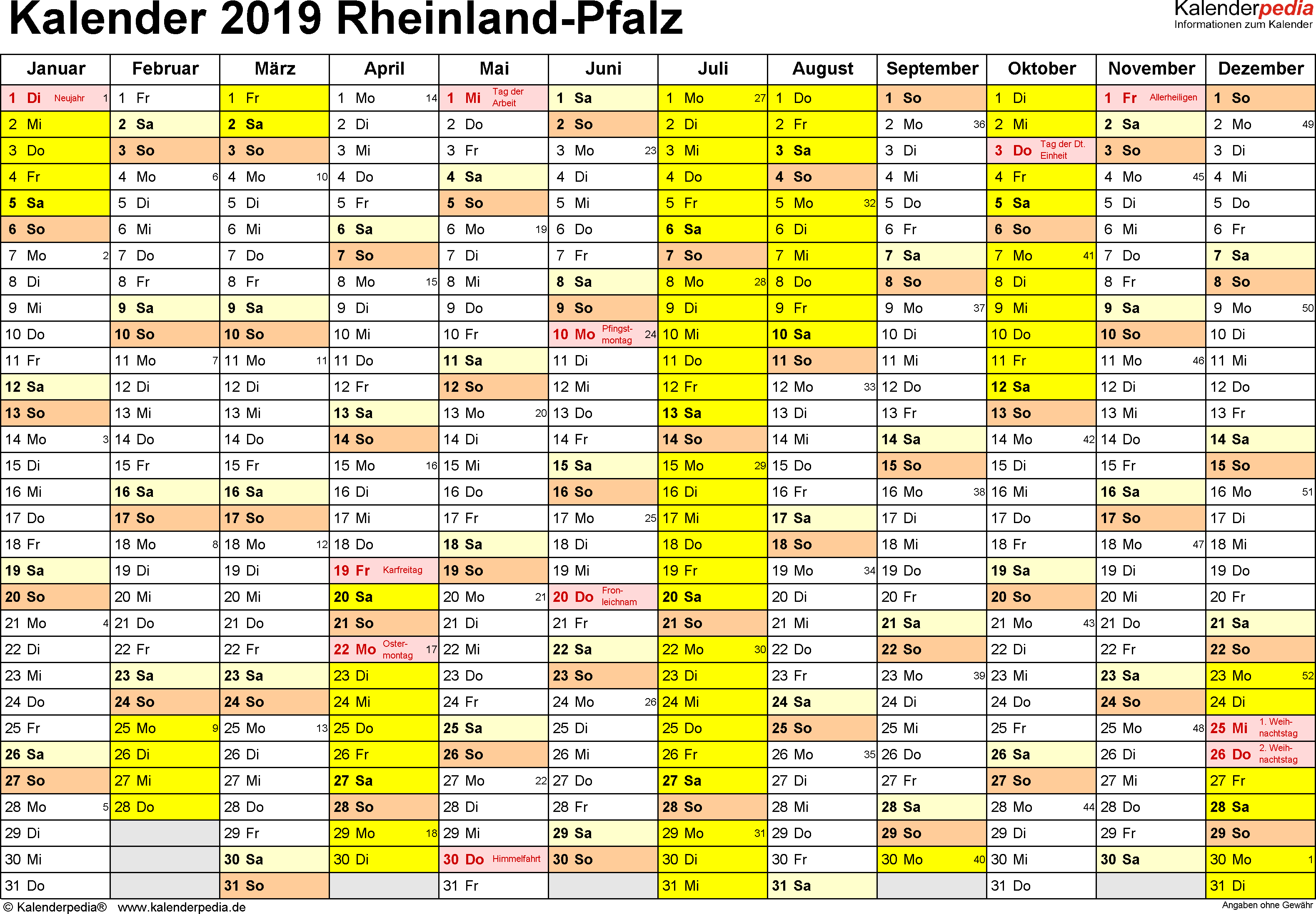 Vorlage 1: Kalender 2019 für Rheinland-Pfalz als PDF-Vorlage (Querformat, 1 Seite)