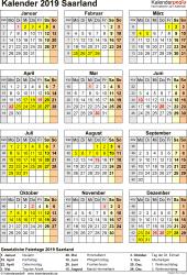 Vorlage 8: Kalender Saarland 2019 als Excel-Vorlage (Hochformat)