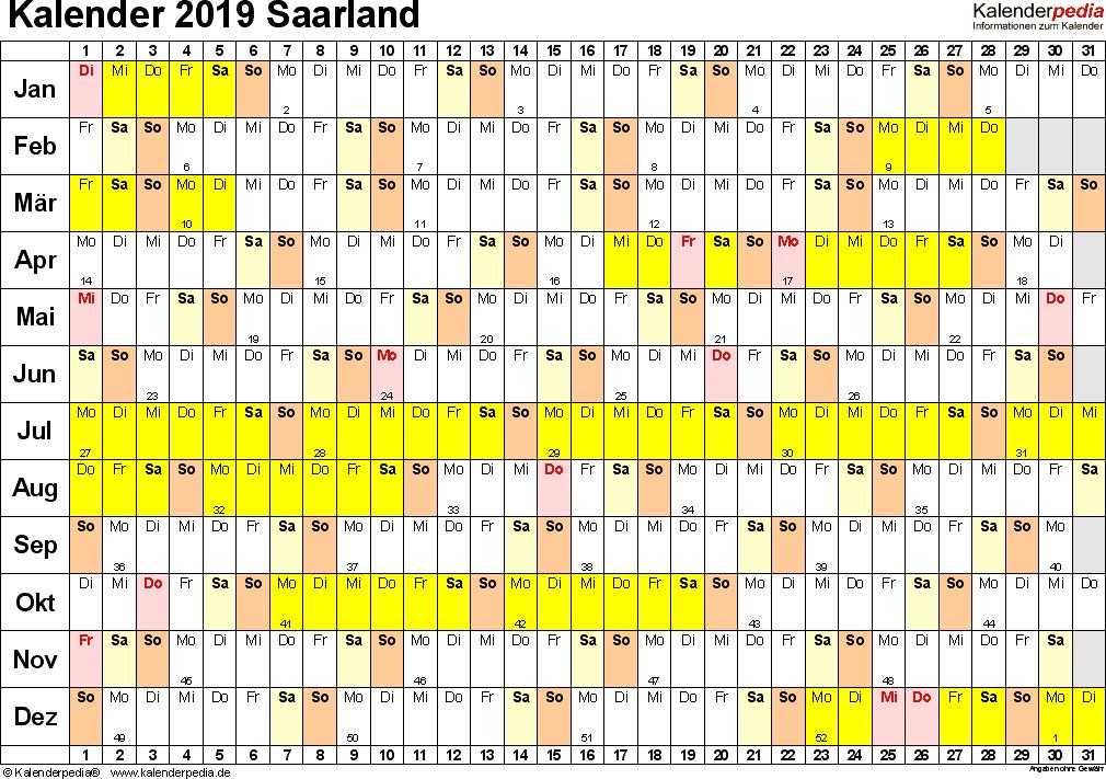Vorlage 3: Kalender Saarland 2019 im Querformat, Tage nebeneinander