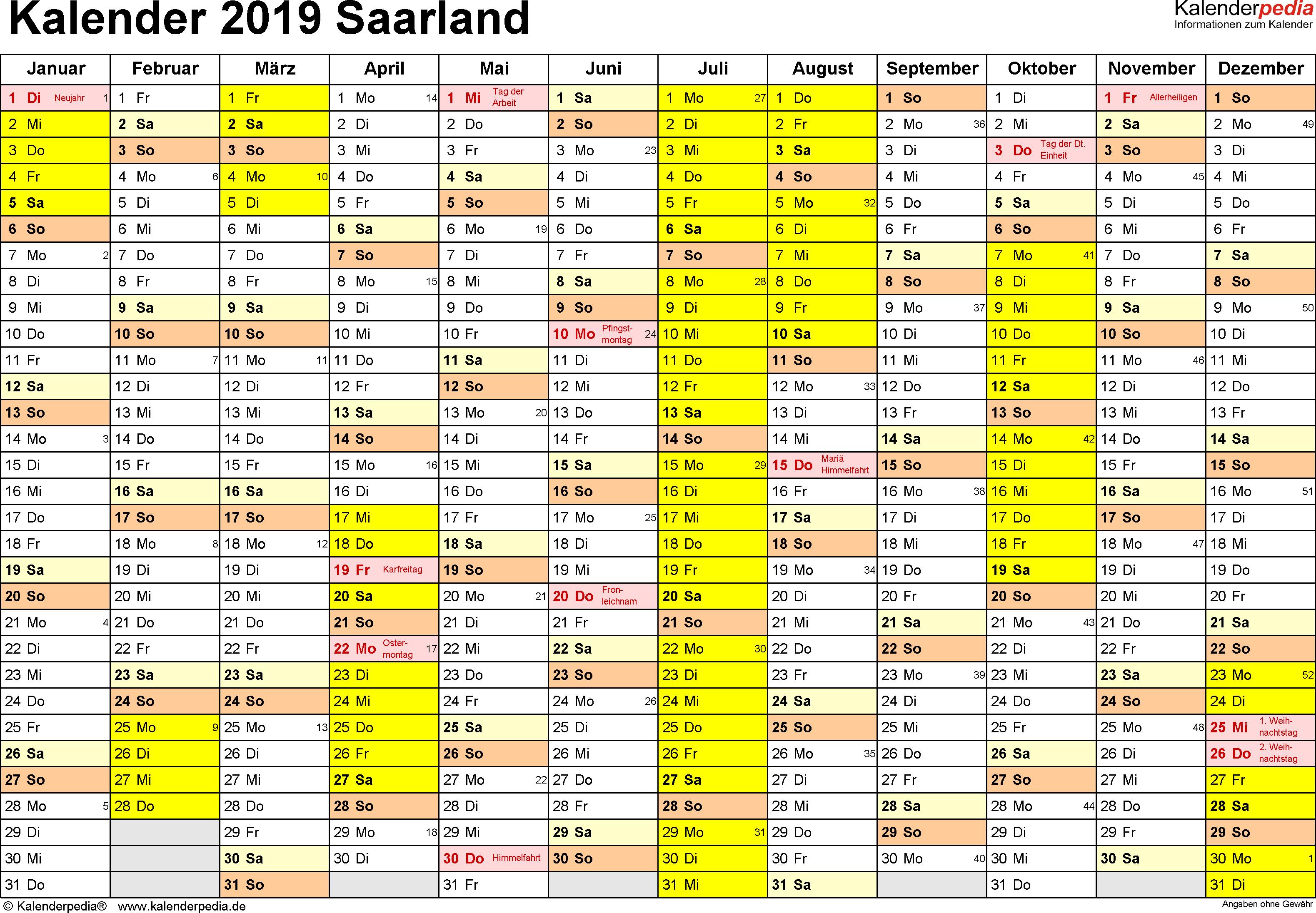 Vorlage 1: Kalender 2019 für Saarland als Excel-Vorlagen (Querformat, 1 Seite)