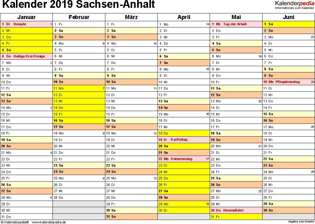 Vorlage 2: Kalender 2019 für Sachsen-Anhalt als PDF-Vorlage (Querformat, 2 Seiten)