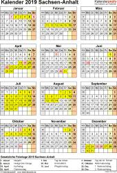 Vorlage 8: Kalender Sachsen-Anhalt 2019 als PDF-Vorlage (Hochformat)