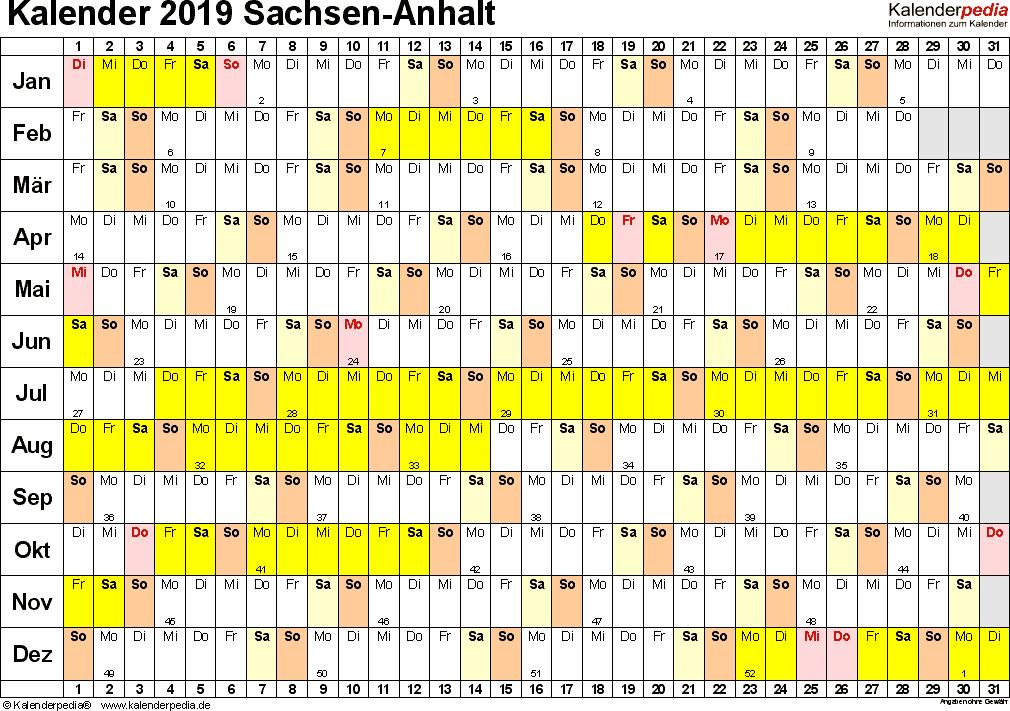 Vorlage 2: Kalender Sachsen-Anhalt 2019 im Querformat, Tage nebeneinander
