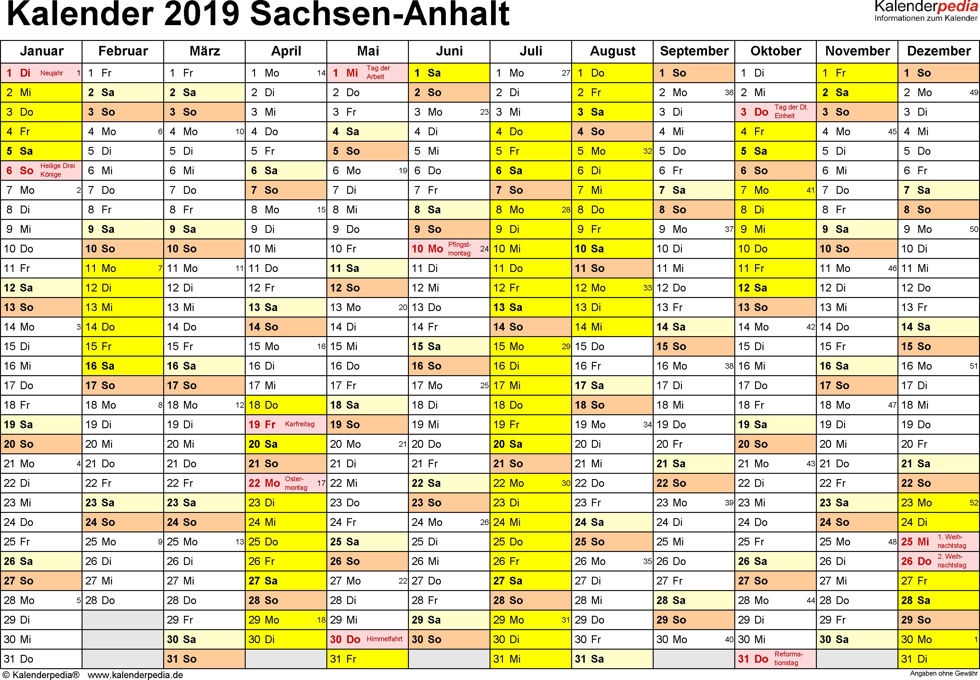 Vorlage 1: Kalender 2019 für Sachsen-Anhalt als PDF-Vorlage (Querformat, 1 Seite)