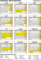 Vorlage 4: Kalender Sachsen 2019 als Word-Vorlage (Hochformat)