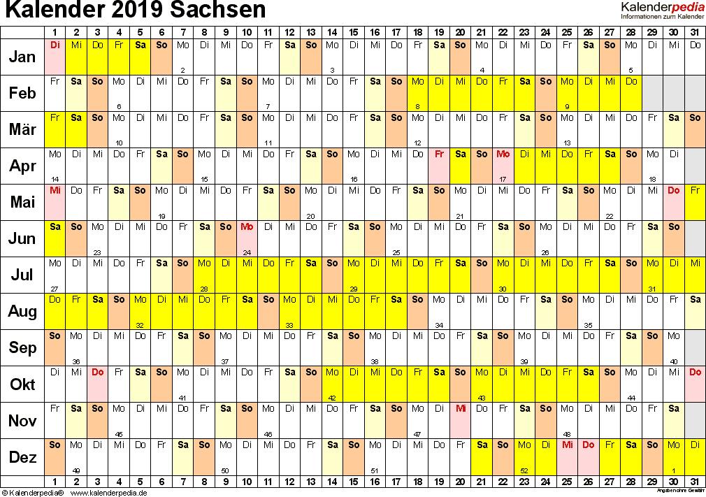 Vorlage 3: Kalender Sachsen 2019 im Querformat, Tage nebeneinander