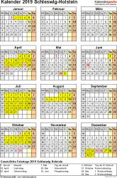 Vorlage 8: Kalender Schleswig-Holstein 2019 als PDF-Vorlage (Hochformat)