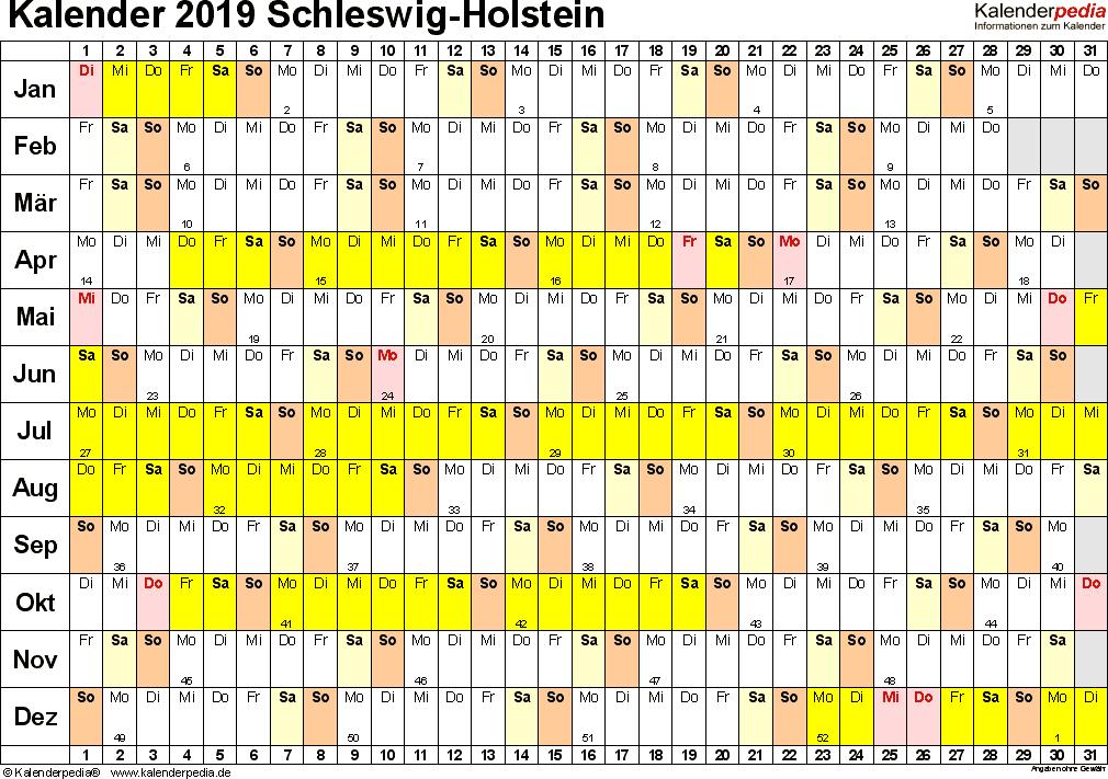 Vorlage 2: Kalender Schleswig-Holstein 2019 im Querformat, Tage nebeneinander