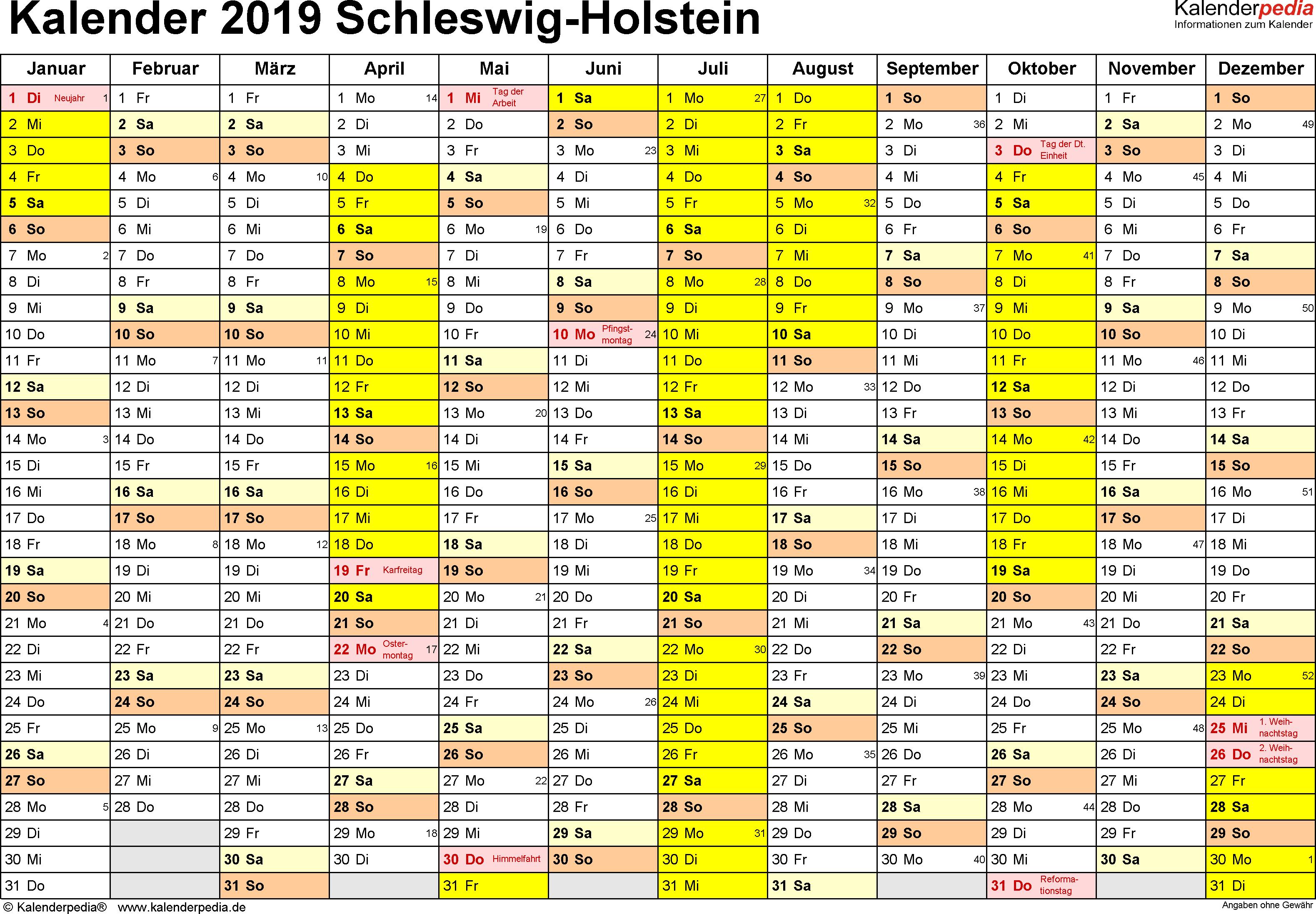 Vorlage 1: Kalender 2019 für Schleswig-Holstein als Excel-Vorlagen (Querformat, 1 Seite)