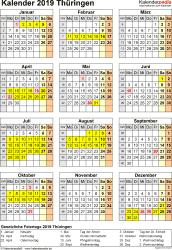 Vorlage 8: Kalender Thüringen 2019 als Excel-Vorlage (Hochformat)
