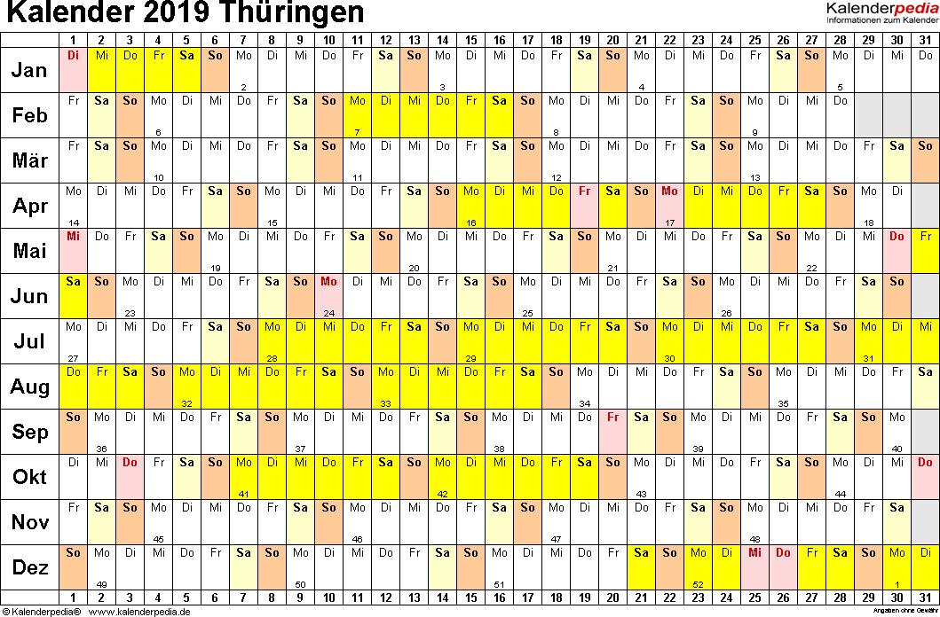 Vorlage 3: Kalender Thüringen 2019 im Querformat, Tage nebeneinander
