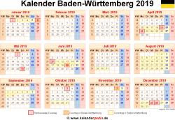 Kalender 2019 Baden-Württemberg