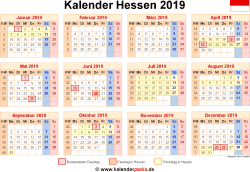 Kalender 2019 Hessen