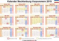 Kalender 2019 Mecklenburg-Vorpommern