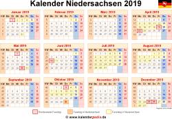 Kalender 2019 Niedersachsen
