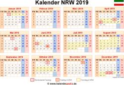Weihnachten 2019 Nrw.Kalender 2019 Nrw Ferien Feiertage Excel Vorlagen