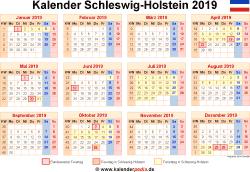 Kalender 2019 Schleswig-Holstein