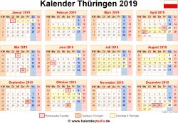 Kalender 2019 Thüringen