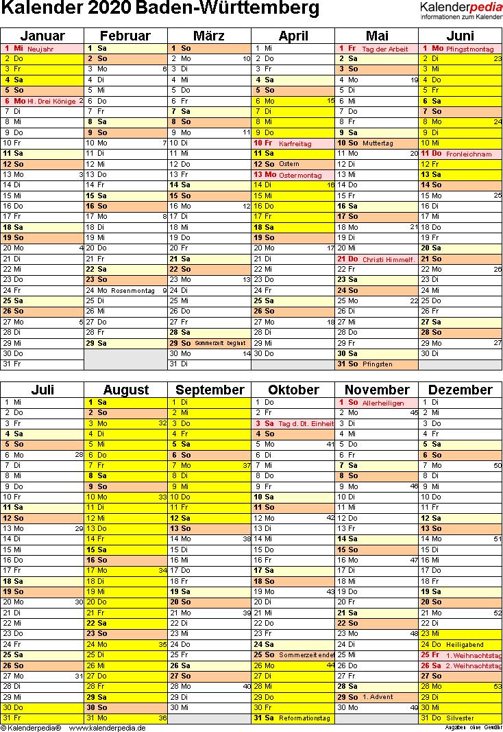 Vorlage 5: Kalender Baden-Württemberg 2020 als Word-Vorlage (Hochformat)