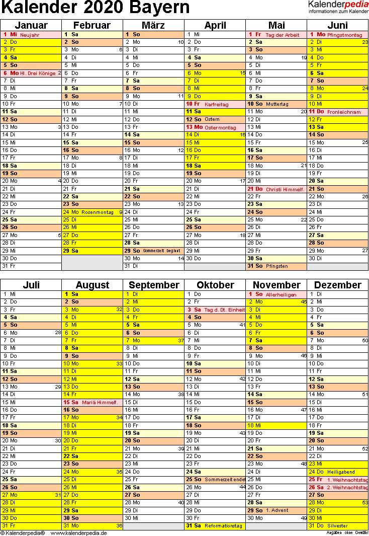 Vorlage 5: Kalender Bayern 2020 als Excel-Vorlage (Hochformat)