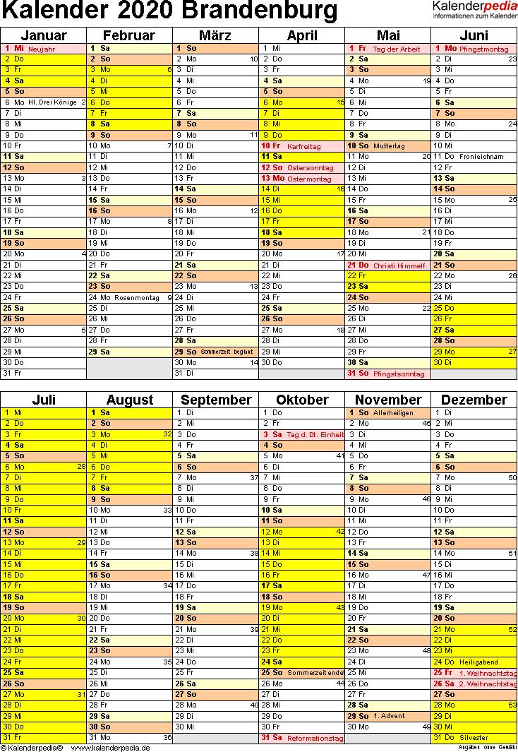Vorlage 5: Kalender Brandenburg 2020 als Excel-Vorlage (Hochformat)