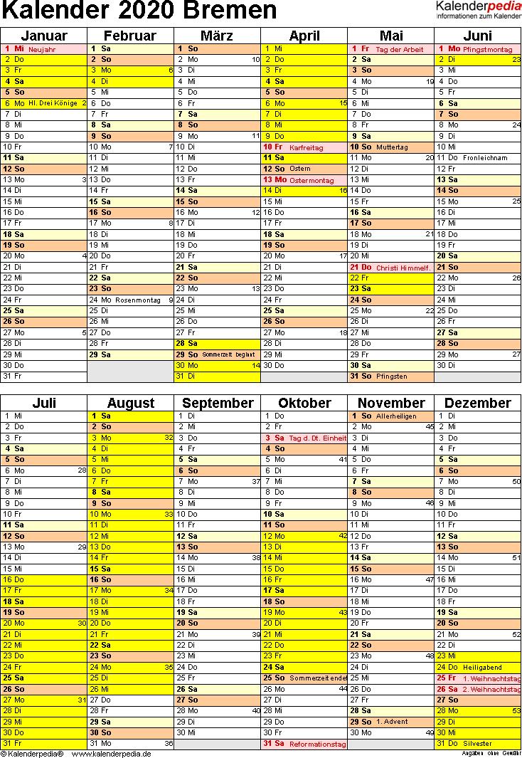 Vorlage 5: Kalender Bremen 2020 als Word-Vorlage (Hochformat)