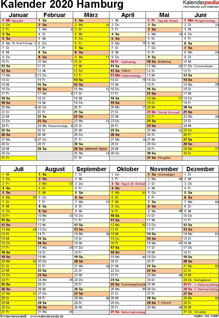 Vorlage 5: Kalender Hamburg 2020 als PDF-Vorlage (Hochformat)