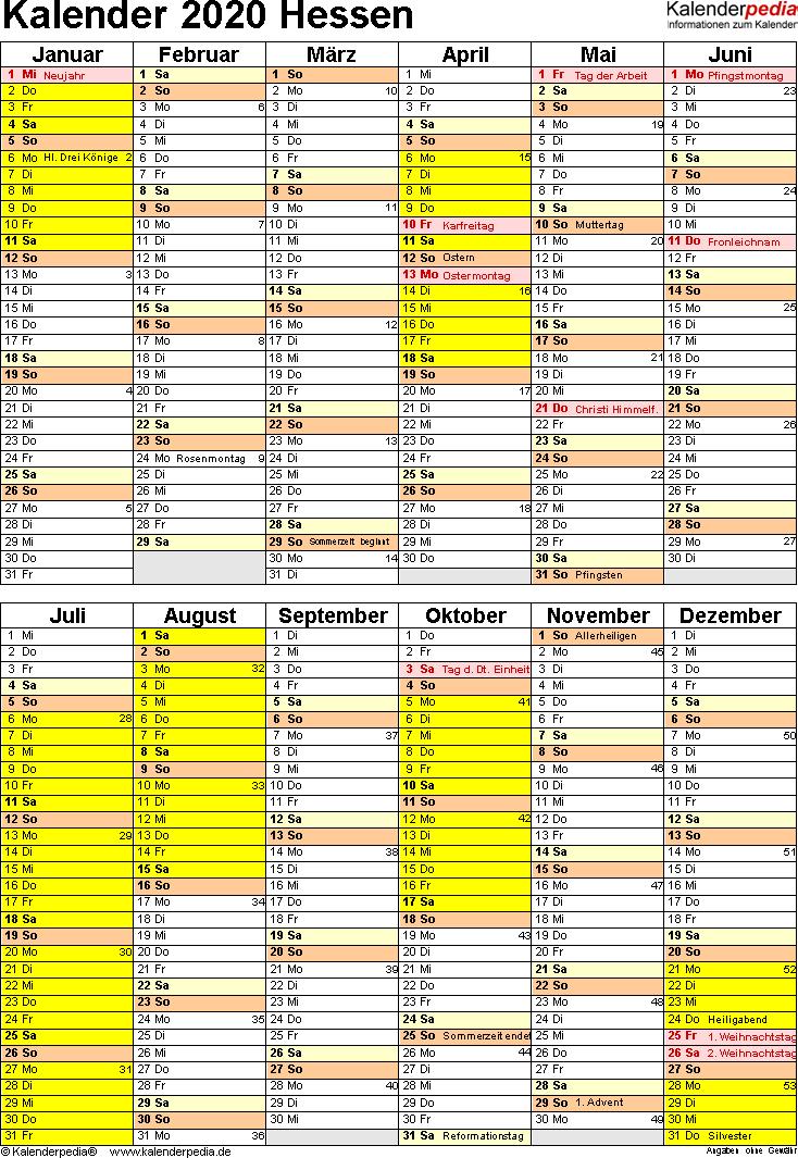 Vorlage 5: Kalender Hessen 2020 als Word-Vorlage (Hochformat)
