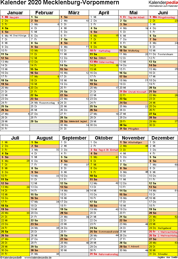 Vorlage 5: Kalender Mecklenburg-Vorpommern 2020 als Excel-Vorlage (Hochformat)