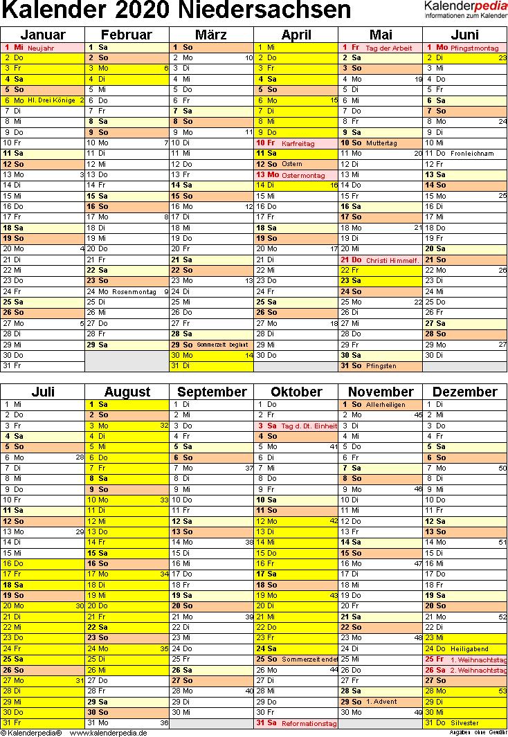 Vorlage 5: Kalender Niedersachsen 2020 als PDF-Vorlage (Hochformat)