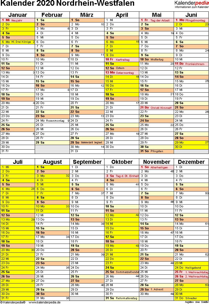 Vorlage 5: Kalender Nordrhein-Westfalen (NRW) 2020 als Excel-Vorlage (Hochformat)