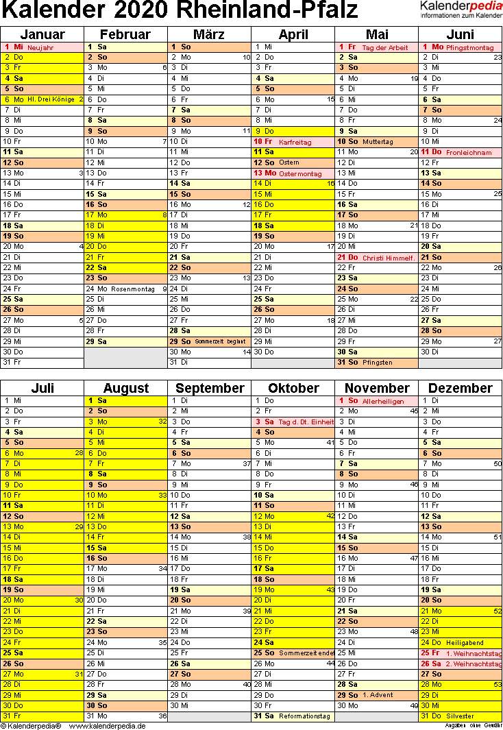 Vorlage 5: Kalender Rheinland-Pfalz 2020 als PDF-Vorlage (Hochformat)
