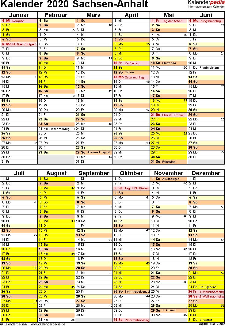 Vorlage 5: Kalender Sachsen-Anhalt 2020 als Excel-Vorlage (Hochformat)