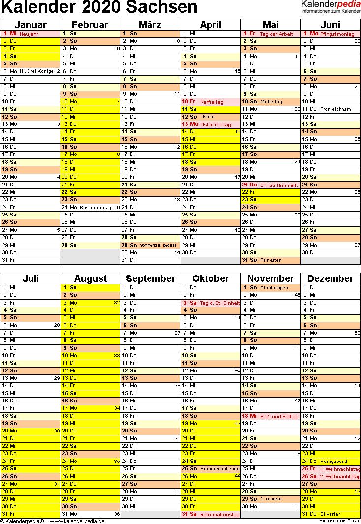 Vorlage 5: Kalender Sachsen 2020 als Excel-Vorlage (Hochformat)