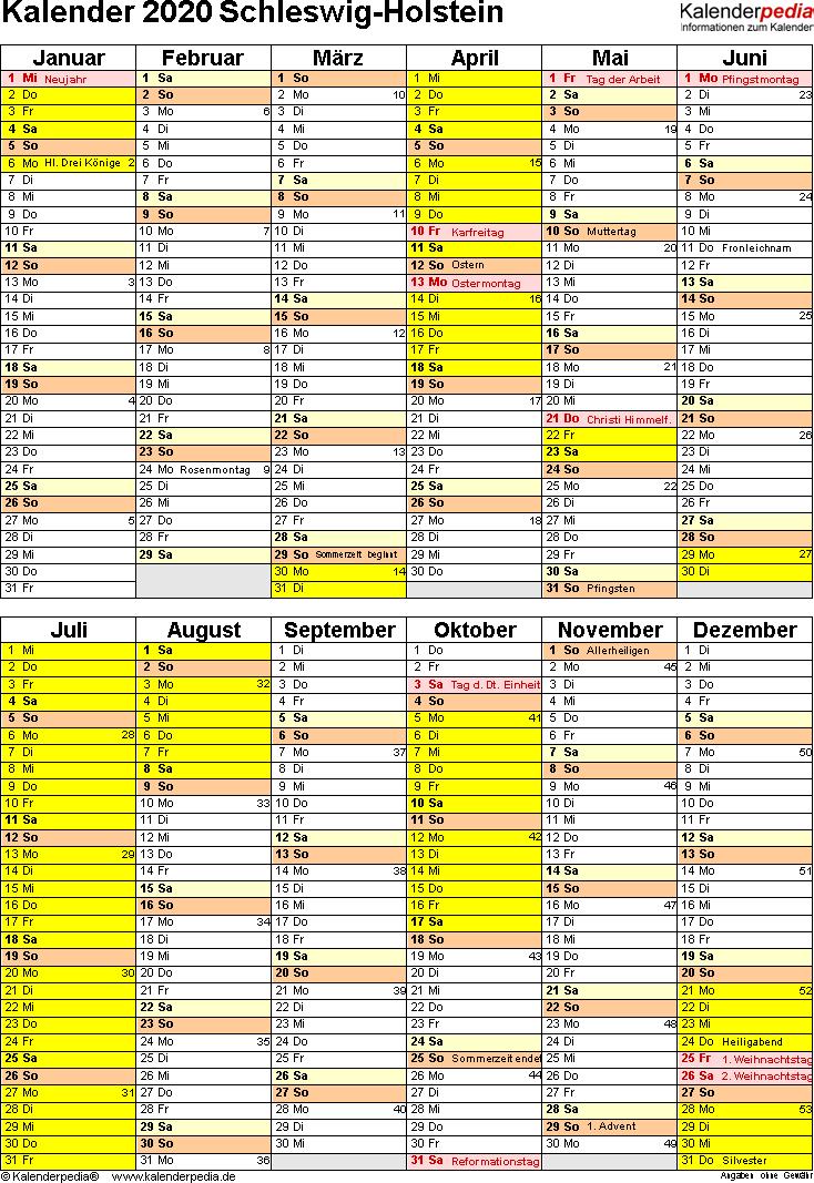 Vorlage 5: Kalender Schleswig-Holstein 2020 als PDF-Vorlage (Hochformat)