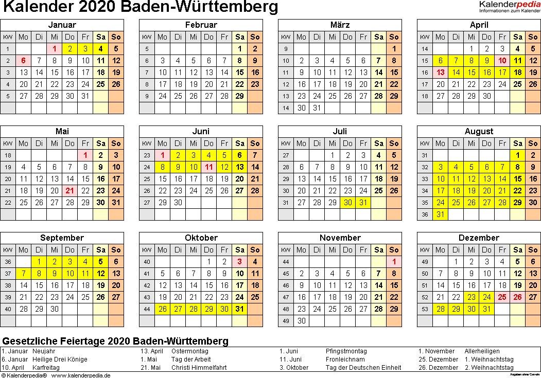 Vorlage 4: Kalender 2020 für Baden-Württemberg als PDF-Vorlagen (Querformat, 1 Seite, Jahresübersicht)